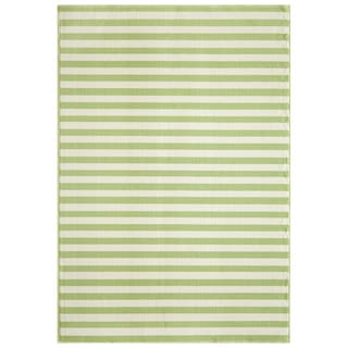 Indoor/ Outdoor Green Striped Rug (8'6 x 13')