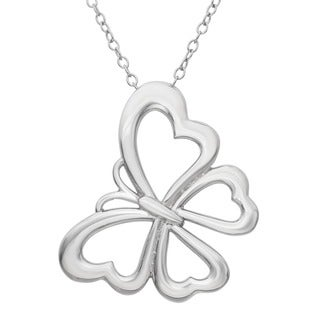 Gioelli Sterling Silver Butterfly Heart Necklace