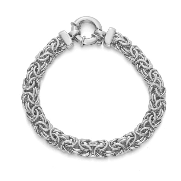 Gioelli Sterling Silver Genuine Byzantine Link Bracelet