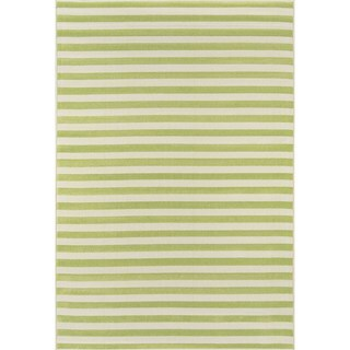 "Momeni Baja Stripe Green Indoor/Outdoor Area Rug - 5'3"" x 7'6"""