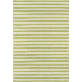 Indoor/ Outdoor Green Striped Rug (5'3 x 7'6)