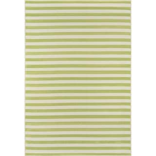 Indoor/Outdoor Green Striped Rug (3'11 x 5'7)