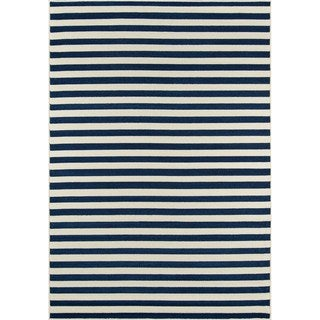Momeni Baja Stripe Navy Indoor/Outdoor Area Rug (6'7 x 9'6)