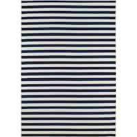 Momeni Baja Stripe Navy Indoor/Outdoor Area Rug (6'7 x 9'6)