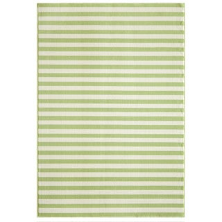 Indoor/Outdoor Striped Green Rug (6'7 x 9'6)