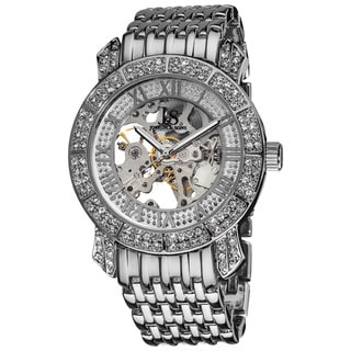 Joshua & Sons Men's Automatic Skeleton Crystal Silvertone Bracelet Watch with FREE GIFT - Silver