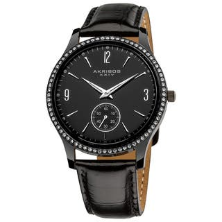 Akribos XXIV Men's Black Dial Crystal-accented Watch with FREE GIFT - Silver|https://ak1.ostkcdn.com/images/products/8035695/8035695/Akribos-XXIV-Mens-Black-Dial-Crystal-accented-Watch-P15395727.jpg?impolicy=medium