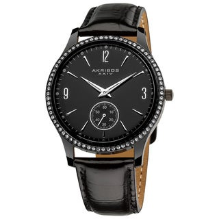 Akribos XXIV Men's Black Dial Crystal-accented Watch with FREE GIFT - Silver