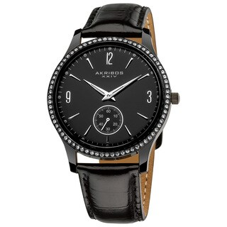 Akribos XXIV Men's Black Dial Crystal-accented Watch - Silver