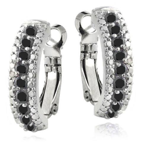 Glitzy Rocks Silvertone Gemstone and Diamond Accent Half Hoop Earrings