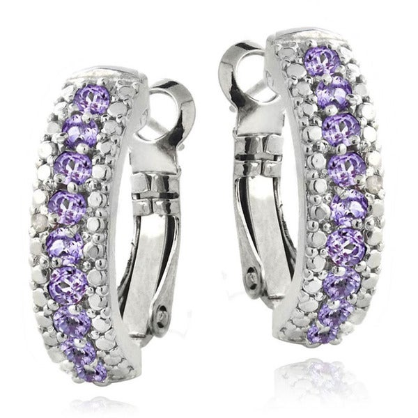 Glitzy Rocks Gemstone and Diamond Accent Half Hoop Earrings