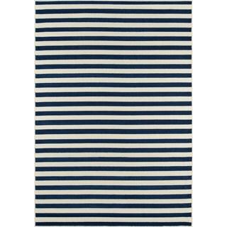 Momeni Baja Stripe Navy Indoor/Outdoor Area Rug (8'6 x 13')
