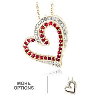 Glitzy Rocks Goldtone Ruby or Sapphire and Diamond Accent Heart Necklace