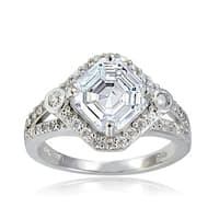 Icz Stonez Silver Asscher-cut Cubic Zirconia Bridal-style Ring