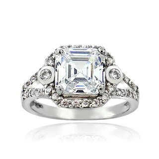 Icz Stonez Silver Asscher-cut Cubic Zirconia Engagement-style Ring