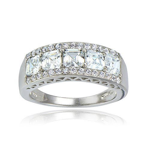 Icz Stonez Silver Asscher-cut Cubic Zirconia Eternity Ring