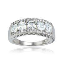 Icz Stonez Silver Asscher-cut Cubic Zirconia Eternity Ring