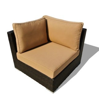 Corvus Morgan Brown Wicker Outdoor Corner Chair with Sunbrella Cushions