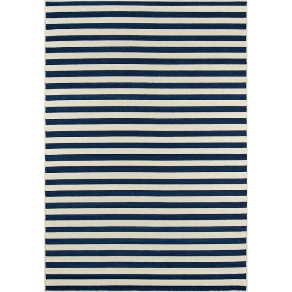 Momeni Baja Stripe Navy Indoor/Outdoor Area Rug (7'10 x 10'10)