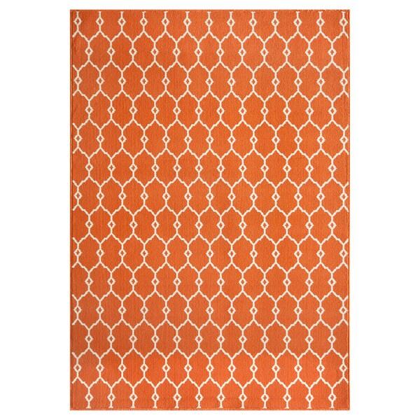 Indoor Outdoor Orange Trellis Rug 1 8 x 3 7 Free