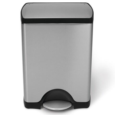 Simplehuman Step Brushed Stainless Steel Rectangular 8-gallon Trash Can