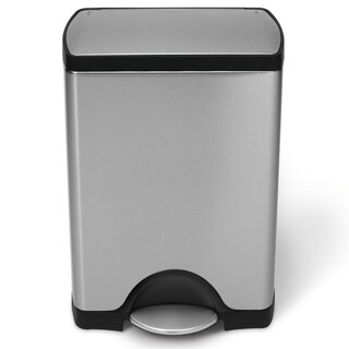Simplehuman Step Brushed Stainless Steel Rectangular 8-gallon Trash Can