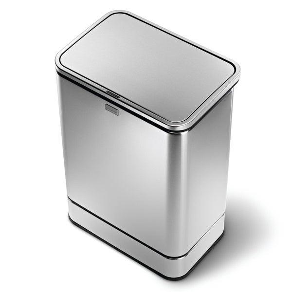 simplehuman rectangular sensor trash can fingerprint proof brushed stainless steel 40 liters. Black Bedroom Furniture Sets. Home Design Ideas