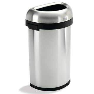 simplehuman Semi-round Brushed Stainless Steel Open 16 gal. Trash Can
