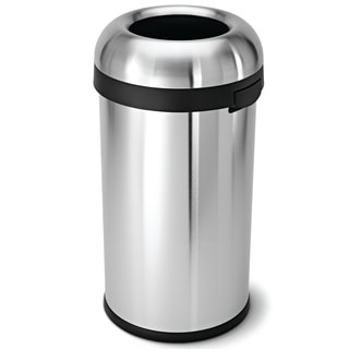 simplehuman Bullet Open Brushed Stainless Steel 16 gal. Trash Can