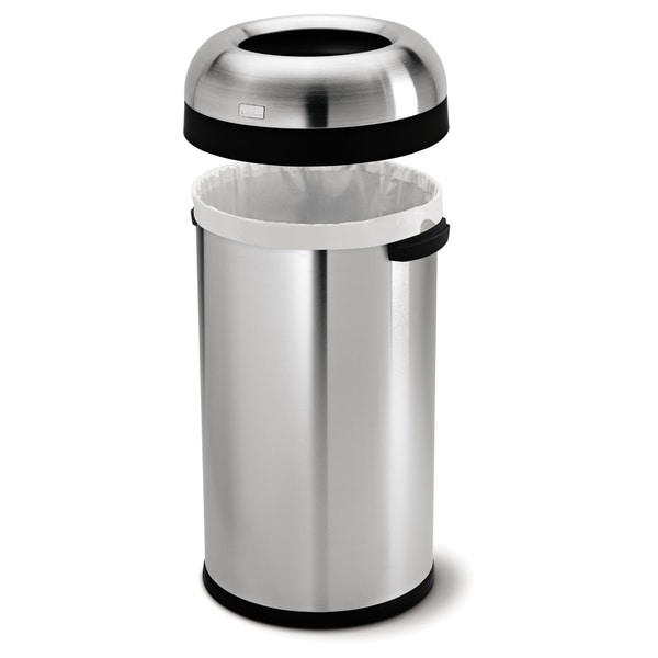 simplehuman bullet open brushed stainless steel 16 gal trash can free shipping today