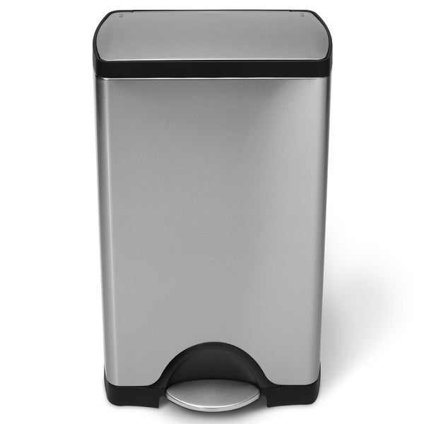 simplehuman Rectangular Step Brushed Stainless Steel Trash Can (10 Gallons)