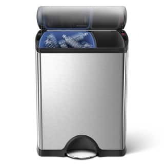 simplehuman 46L/ 12-Gallon Rectangular Recycle Bin Step Can Brushed Stainless Steel