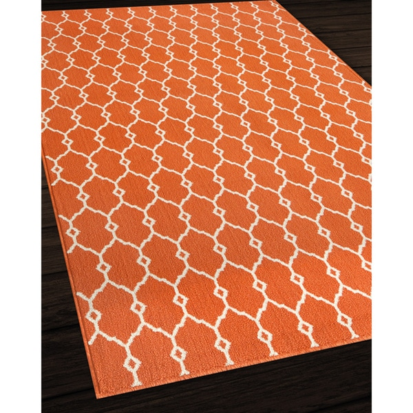 Indoor Outdoor Orange Trellis Rug 5 3 X 7 6 Free