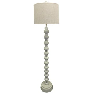White Distressed Wood Floor Lamp