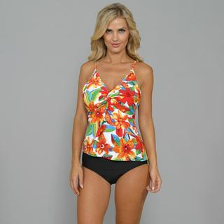 Island World Tropical Floral Underwire Tankini with Black Bottoms