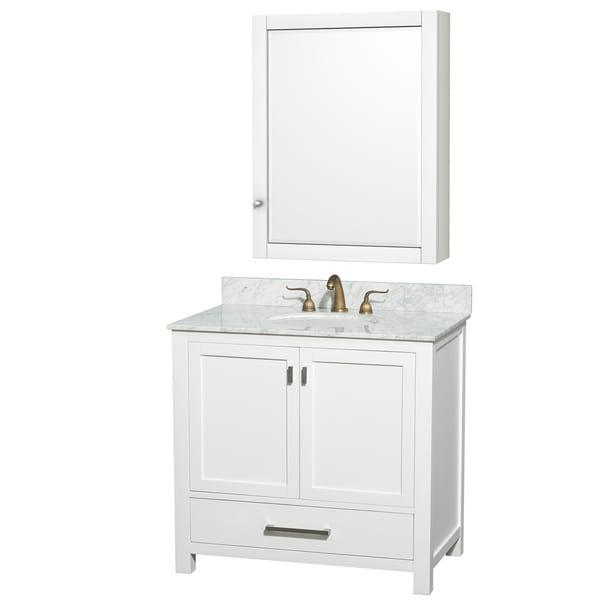 Abingdon Carrera Marble Top White Vanity, Sink And Medicine Cabinet Set