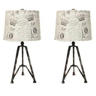 Paris 'La Beaujolaise' Giclee 27-inch Tripot Table Lamps (Set of 2)