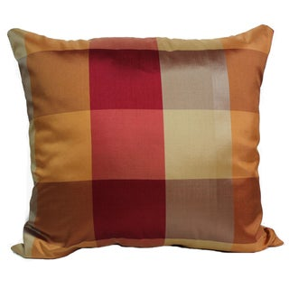 Regal Plaid Rust 16-Inch Square Throw Pillow