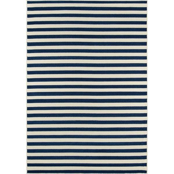 Momeni Baja Stripe Navy Indoor/Outdoor Area Rug (3'11 x 5'7)