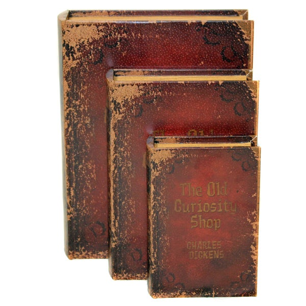 Antiqued Book Wood and Leather Storage Boxes (3-piece Set)