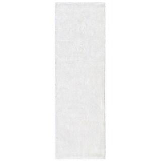 """Momeni Luster Shag White Hand-Tufted Shag Runner Rug - 2'3"""" x 8' Runner"""