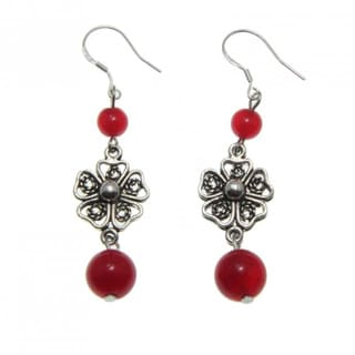 Handmade Tibetan Silver Agate Flower Earrings (China)