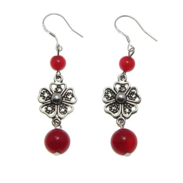 Handmade Tibetan Silver Agate Flower Earrings (China)