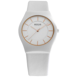 Bering Men's White/ Goldtone Analog Watch