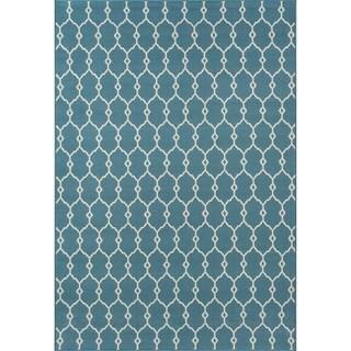 Thumbnail 1, Momeni Baja Trellis Blue Indoor/Outdoor Area Rug (5'3 x 7'6).