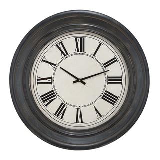 Bostonian 32-inch Rustic Black Wall Clock