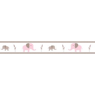 Sweet JoJo Designs Pink and Taupe Mod Elephant Modern Wall Border