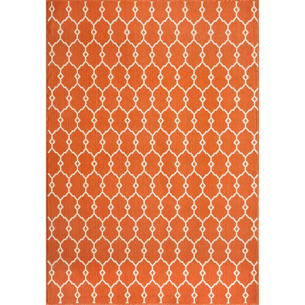 Indoor Outdoor Orange Trellis Rug 7 10 x 10 10 Free