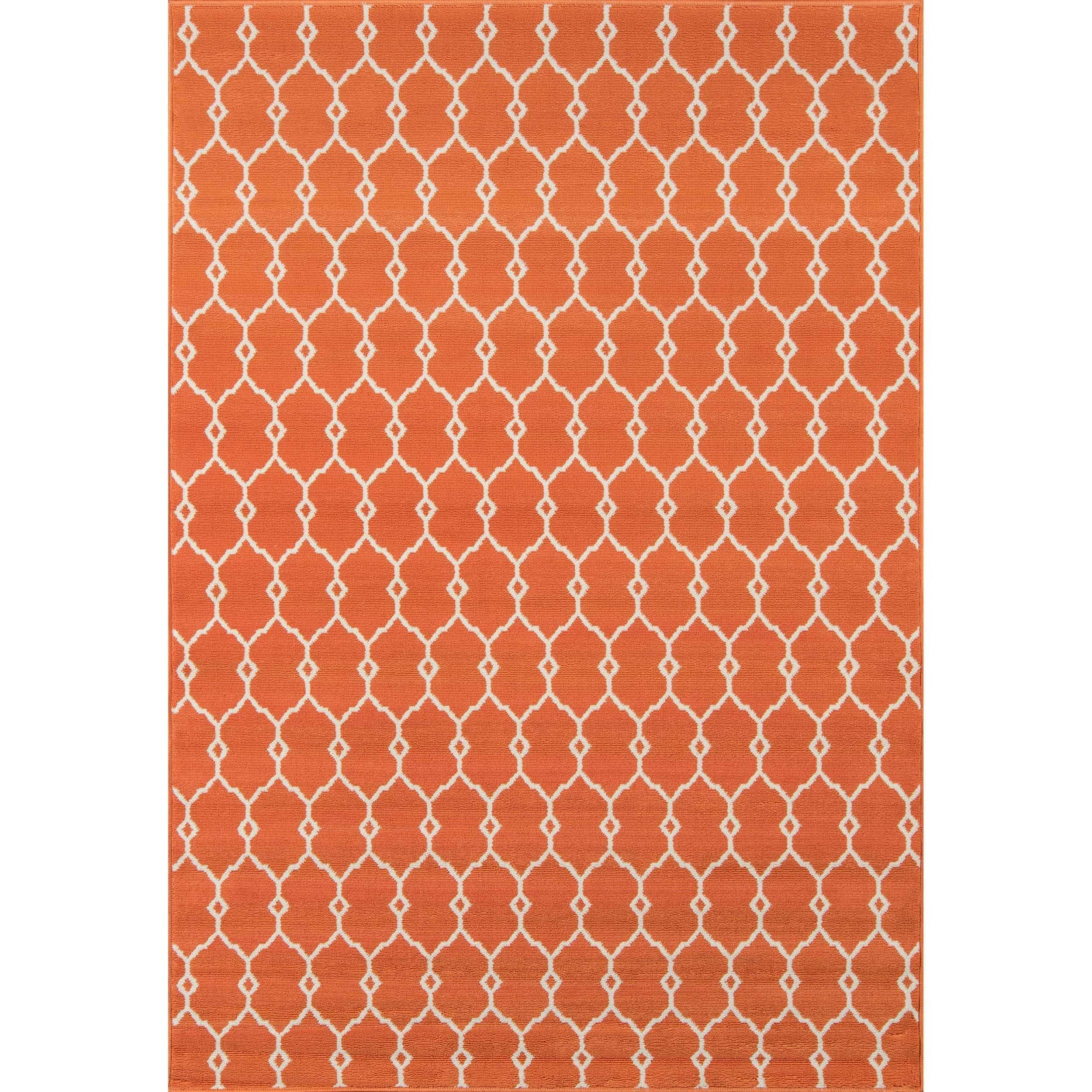 Momeni Baja Trellis Orange Indoor/Outdoor Area Rug (1'8 x 3'7)