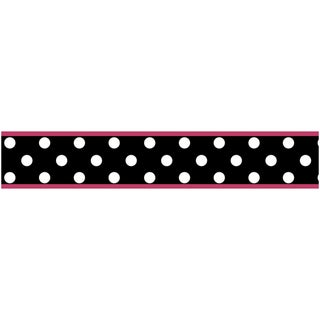 Sweet JoJo Designs Pink and Black Hot Dot Wall Border